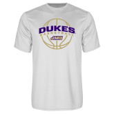 Performance White Tee-Dukes Basketball Arched w/ Ball