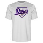 Performance White Tee-Dukes Softball Script w/ Plate