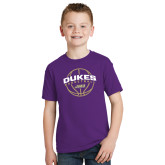 Youth Purple T Shirt-Dukes Basketball Arched w/ Ball