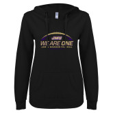 ENZA Ladies Black V Notch Raw Edge Fleece Hoodie-We Are One - Kickoff 2017