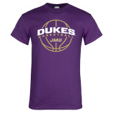 Purple T Shirt-Dukes Basketball Arched w/ Ball