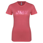 Next Level Ladies SoftStyle Junior Fitted Pink Tee-Primary Logo Foil