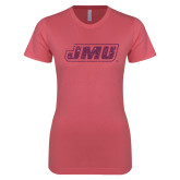 Next Level Ladies SoftStyle Junior Fitted Pink Tee-JMU Pink Glitter