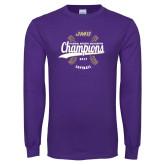 Purple Long Sleeve T Shirt-CAA 2017 Softball Champions