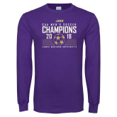 Purple Long Sleeve T Shirt-2018 CAA Mens Soccer Champions
