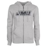 ENZA Ladies Grey Fleece Full Zip Hoodie-JMU Graphite Soft Glitter