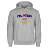 Grey Fleece Hoodie-Dukes Basketball Arched w/ Ball