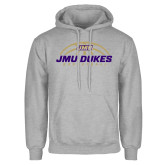 Grey Fleece Hoodie-JMU Dukes Basketball Half Ball