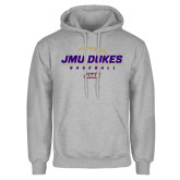 Grey Fleece Hoodie-JMU Dukes Baseball Stacked