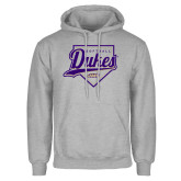 Grey Fleece Hoodie-Dukes Softball Script w/ Plate
