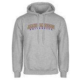 Grey Fleece Hoodie-James Madison University Arched
