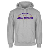 Grey Fleece Hoodie-JMU Dukes Football Under Ball