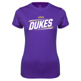 Ladies Syntrel Performance Purple Tee-Dukes Slanted