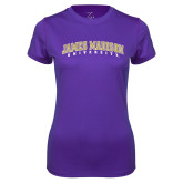 Ladies Syntrel Performance Purple Tee-James Madison University Arched