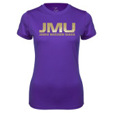 Ladies Syntrel Performance Purple Tee-JMU James Madison Dukes Textured