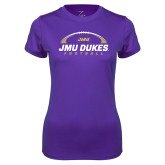 Ladies Syntrel Performance Purple Tee-JMU Dukes Football Under Ball