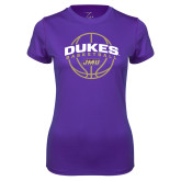 Ladies Syntrel Performance Purple Tee-Dukes Basketball Arched w/ Ball