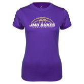 Ladies Syntrel Performance Purple Tee-JMU Dukes Basketball Half Ball