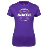 Ladies Syntrel Performance Purple Tee-Dukes Baseball w/ Seams
