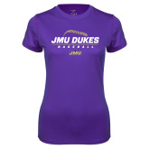 Ladies Syntrel Performance Purple Tee-JMU Dukes Baseball Stacked