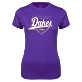 Ladies Syntrel Performance Purple Tee-Dukes Softball Script w/ Plate