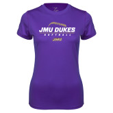 Ladies Syntrel Performance Purple Tee-JMU Dukes Softball Stacked