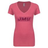 Next Level Ladies Vintage Pink Tri Blend V-Neck Tee-JMU Hot Pink Glitter
