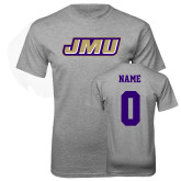 Grey T Shirt-Primary Logo, Custom Tee w/ Name and #