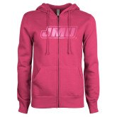 ENZA Ladies Fuchsia Fleece Full Zip Hoodie-Primary Logo Foil