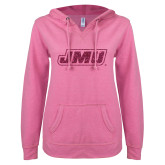 ENZA Ladies Hot Pink V Notch Raw Edge Fleece Hoodie-JMU Hot Pink Glitter
