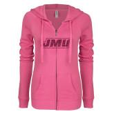 ENZA Ladies Hot Pink Light Weight Fleece Full Zip Hoodie-JMU Hot Pink Glitter
