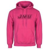 Fuchsia Fleece Hoodie-JMU Hot Pink Glitter