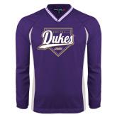 Colorblock V Neck Purple/White Raglan Windshirt-Dukes Softball Script w/ Plate