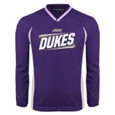 Colorblock V Neck Purple/White Raglan Windshirt-Dukes Slanted
