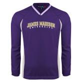 Colorblock V Neck Purple/White Raglan Windshirt-James Madison University Arched