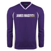 Colorblock V Neck Purple/White Raglan Windshirt-James Madison Two Tone