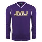 Colorblock V Neck Purple/White Raglan Windshirt-JMU James Madison Dukes Textured