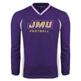 Colorblock V Neck Purple/White Raglan Windshirt-Football