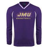 Colorblock V Neck Purple/White Raglan Windshirt-Basketball