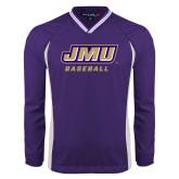 Colorblock V Neck Purple/White Raglan Windshirt-Baseball