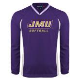 Colorblock V Neck Purple/White Raglan Windshirt-Softball