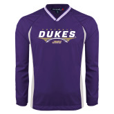 Colorblock V Neck Purple/White Raglan Windshirt-Dukes Football Flat Over Ball