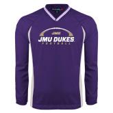 Colorblock V Neck Purple/White Raglan Windshirt-JMU Dukes Football Under Ball