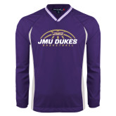 Colorblock V Neck Purple/White Raglan Windshirt-JMU Dukes Basketball Half Ball
