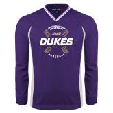 Colorblock V Neck Purple/White Raglan Windshirt-Dukes Baseball w/ Seams