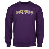 Purple Fleece Crew-James Madison University Arched