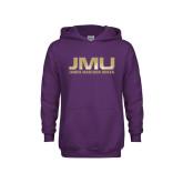 Youth Purple Fleece Hoodie-JMU James Madison Dukes Textured