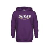 Youth Purple Fleece Hoodie-Dukes Football Flat Over Ball