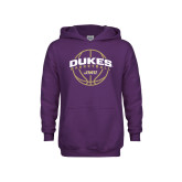 Youth Purple Fleece Hoodie-Dukes Basketball Arched w/ Ball