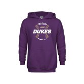 Youth Purple Fleece Hoodie-Dukes Baseball w/ Seams